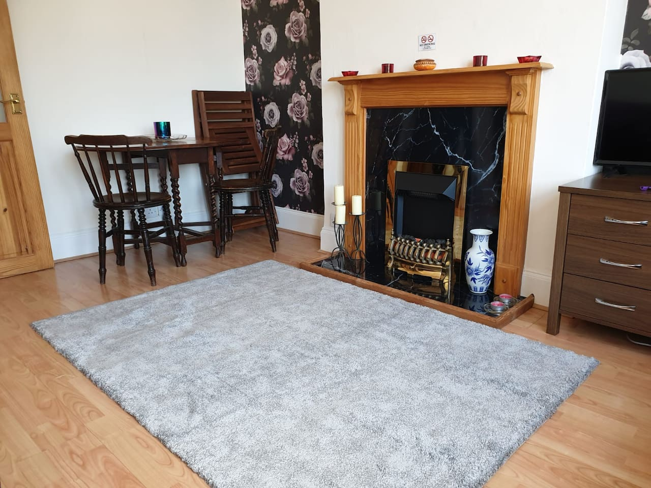 The whole apartment is available for your sole use, this is the spacious Lounge/Diner, complete with a Smart TV,  WiFi, DVD Player and Wii.