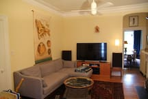 Middle living room with TV and stereo