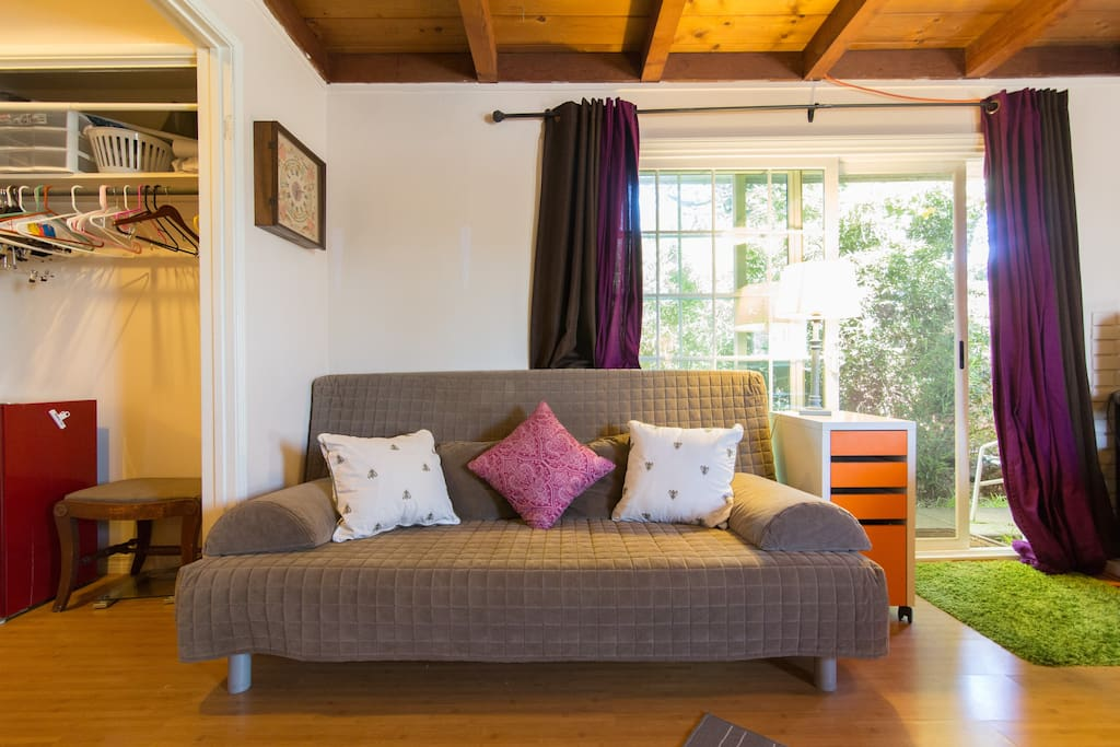 Lounging spot, futon which reclines in to a comfy Queen bed.