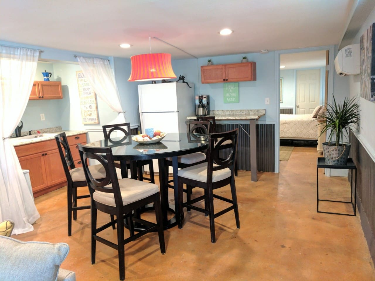 Full Kitchen with stove, fridge,  coffee pot, dishes - your home away from home!