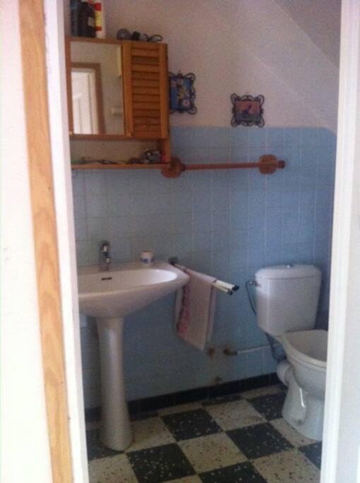 SALLE DE BAINS LUMINEUSE DOUCHE LAVABO WC