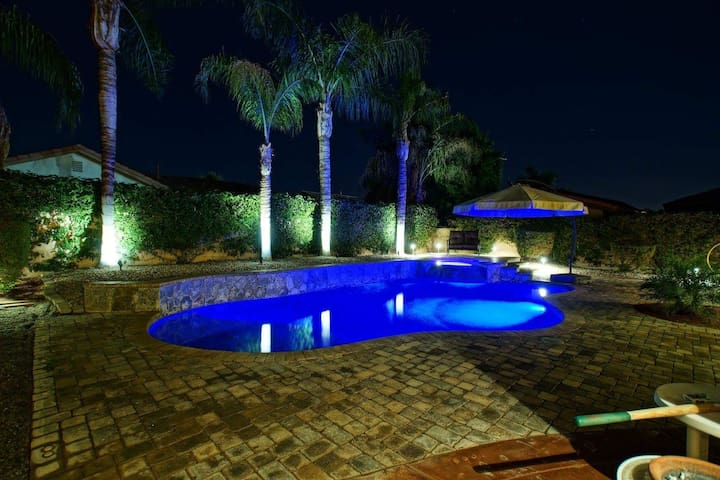 Exotic night lights with optional pool fence.