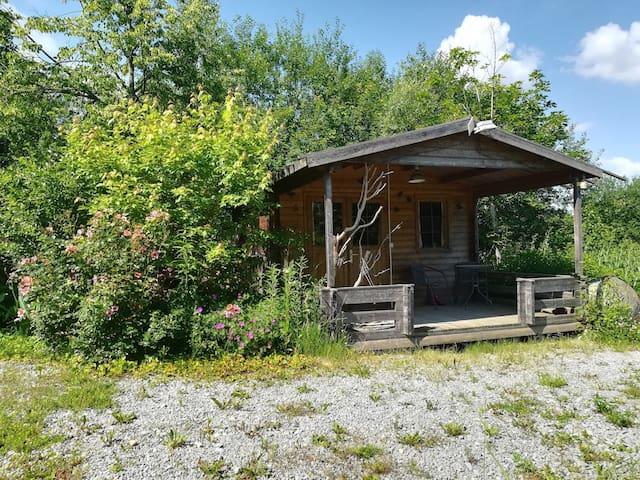 Urige Naturhütte im permakulturellen Waldgarten