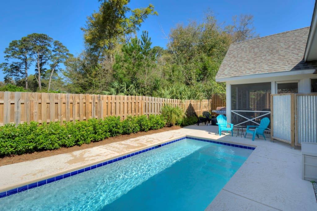 Saltwater dipping pool, fenced yard, screened porch, shower and gas grill.