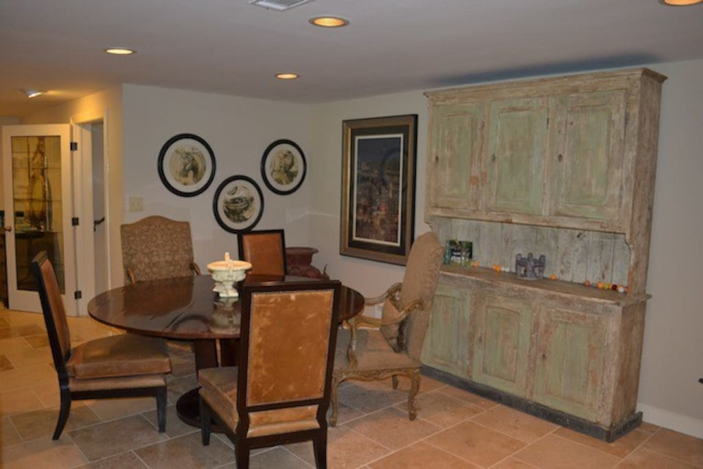 The dining area is off the kitchen and the living room.