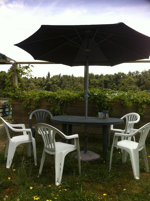A courtyard with table and chairs. This is the North view from the room - native trees and the passion fruit vine.