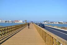 Faro island beach pedestrian and car access