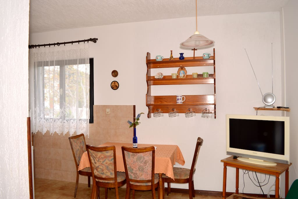 Dinning table and the TV