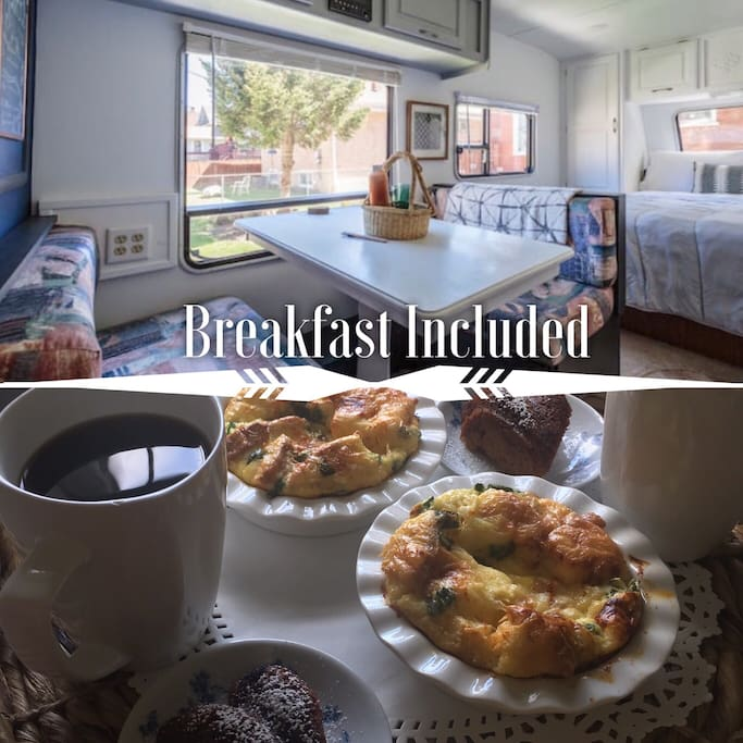 We will bring breakfast out to your camper at 9 a.m. unless you tell us otherwise. If you're an early riser let us know. We will make sure to leave some goodies in your fridge to be warmed up in the morning.  Additionally, if you wish to skip the complimentary breakfast we totally understand. Brunch is a big deal around here. We're happy to help guide you to a great restaurant.