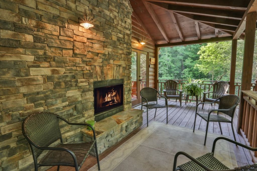 Wood Burning Fireplace on Porch