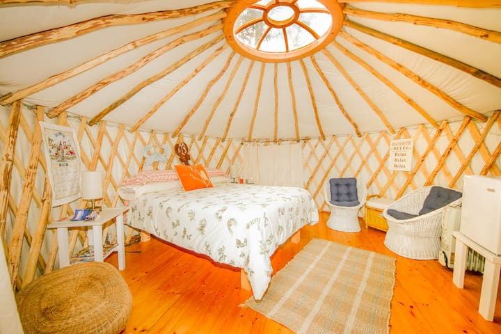 Inside view of the Puffin Yurt