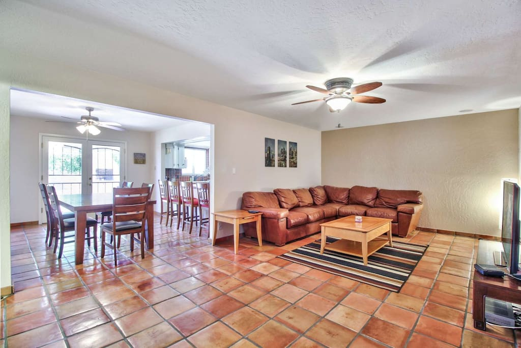 Large living room off the kitchen and dining area