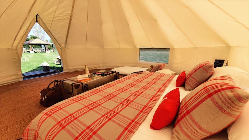 Luxury Bell Tents on Farm with Swimming Lake