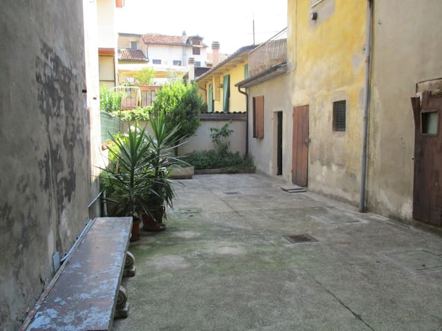 The courtyard downstairs.