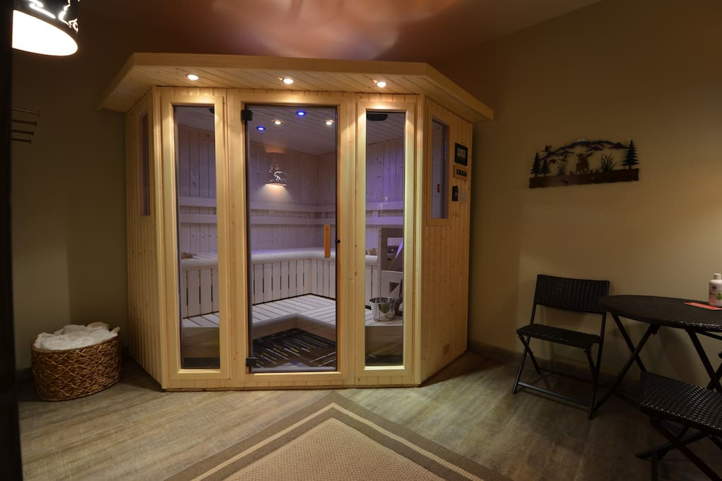Sauna room to relax your muscles after skiing, hiking or just because it's here.