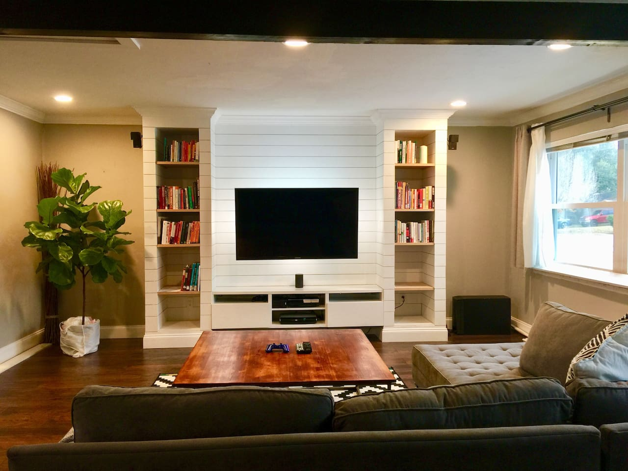 Livingroom with comfortable couch and relaxing atmosphere