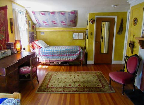 Large  bedroom in historic 1828 Dobbs Ferry home.
