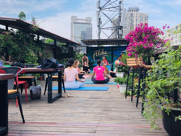 Rooftop Yoga in a private garden