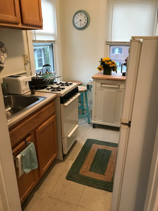 Warm, inviting kitchen with all the amenities you could need on your trip. Island has drop-leaf for seating