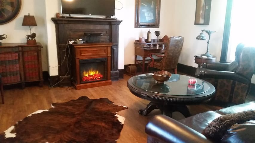 Living room  2 recliners, sofa, 2 large chairs. Seats eight comfortably.  Has leather lift chair also
