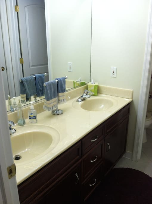 Your bathroom features a double sink and great lighting.