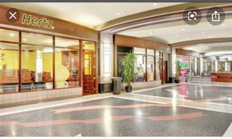 Mall lobby 1st Floor *Dollar General *Cleaners  *Grocery Store *Subway *Soup and Sandwich deli *Indian restaurant  *Hertz Car rental  *Print shop