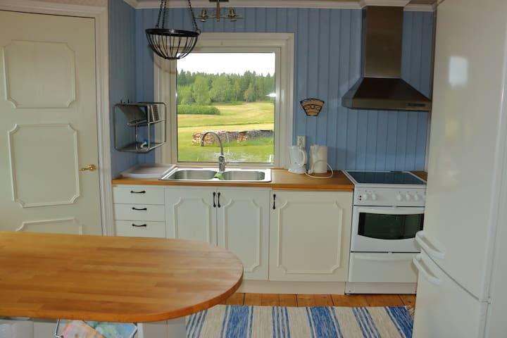 Fullt utrustat kök, med bl a spis, micro kyl/frys.