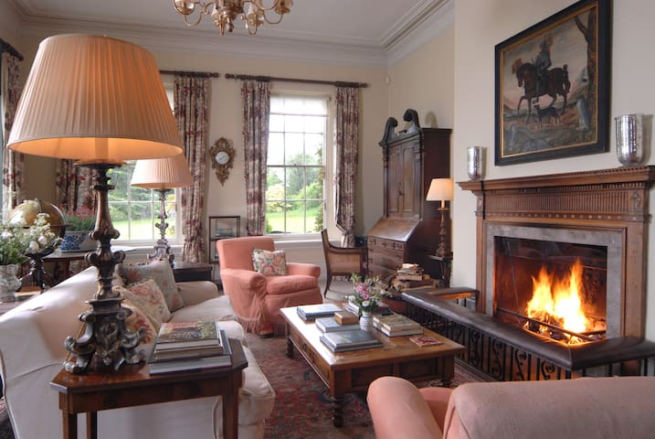 Sitting room/Library- Open Fireplace