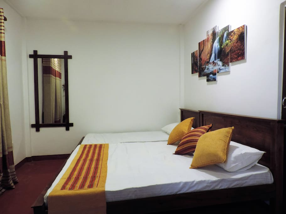 Room 1 - Triple Room : 135 Sqft High quality Teak beds 1 Queen size bed + 1 Single bed
