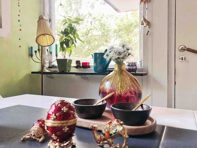 A bright and colourful kitchen.