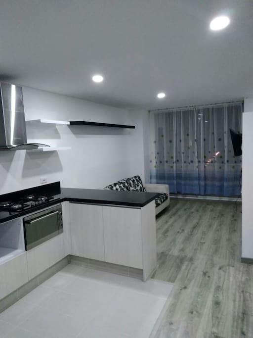 vista de la sala desde la cocina