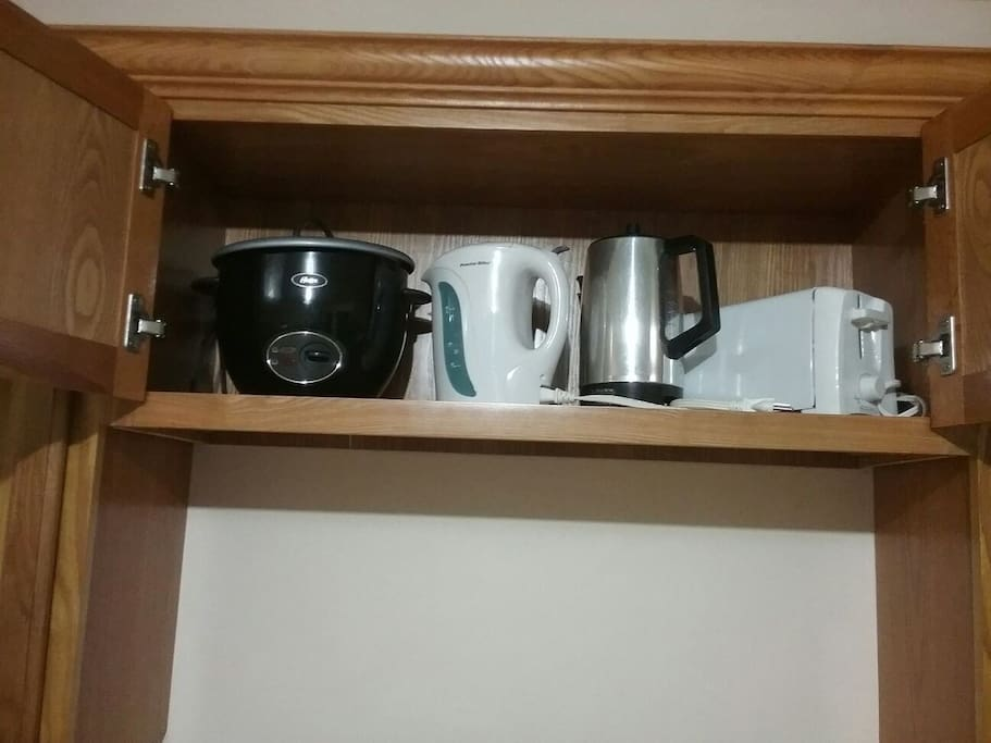 Rice cooker, Electric Kettle, Coffee Percolator  and toaster