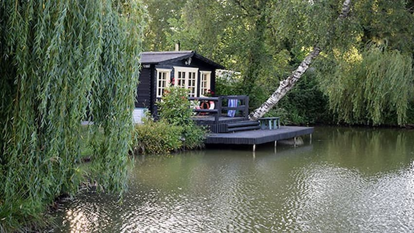 Barbret, cosy cabin on the bank of a carp lake