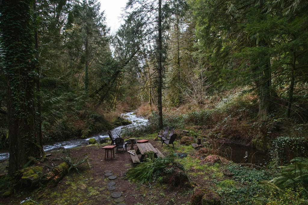 The creek and firepit area