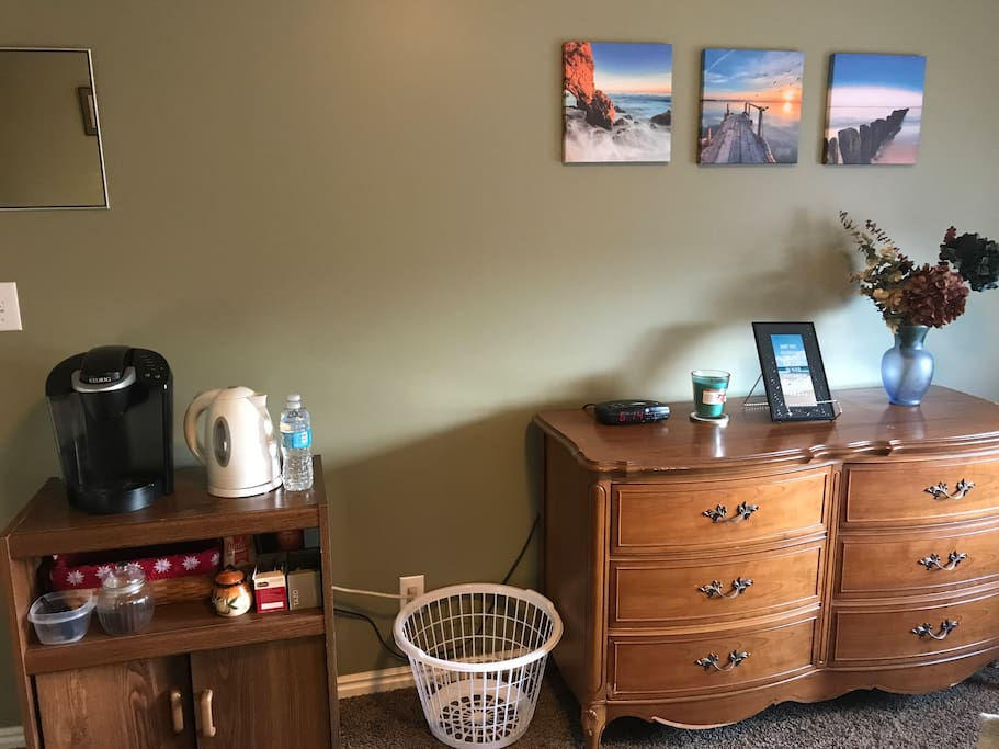 Complimentary coffee/tea and dresser available for your use