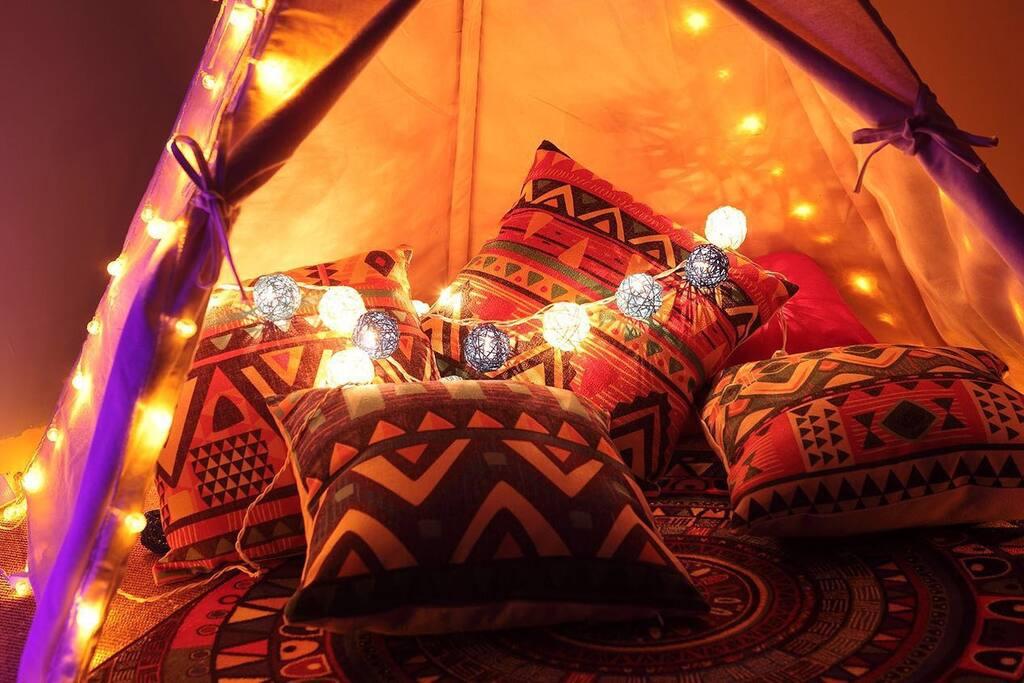 卧室印第安主题帐篷