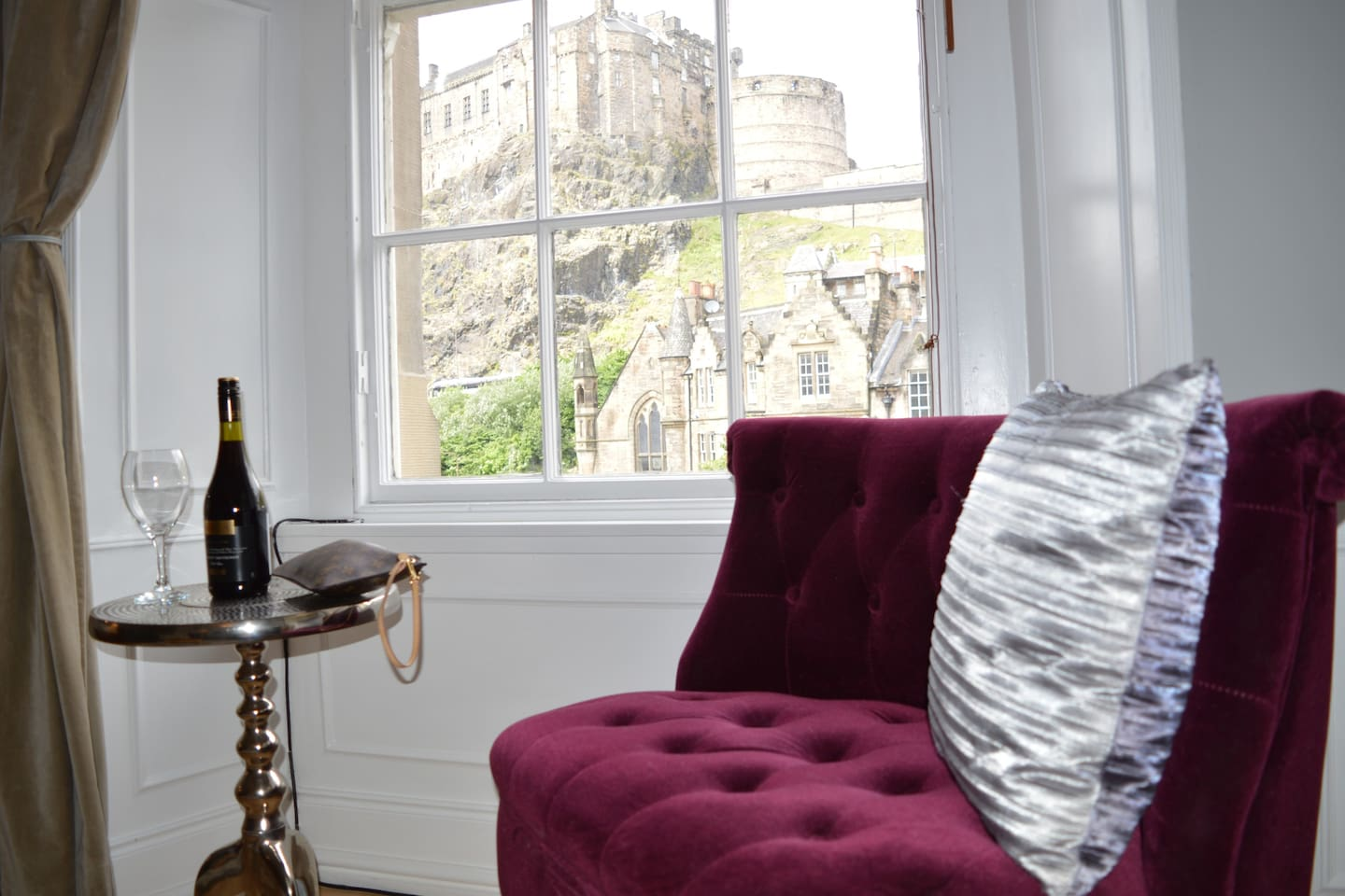 Relax and take in this amazing castle view from livingroom