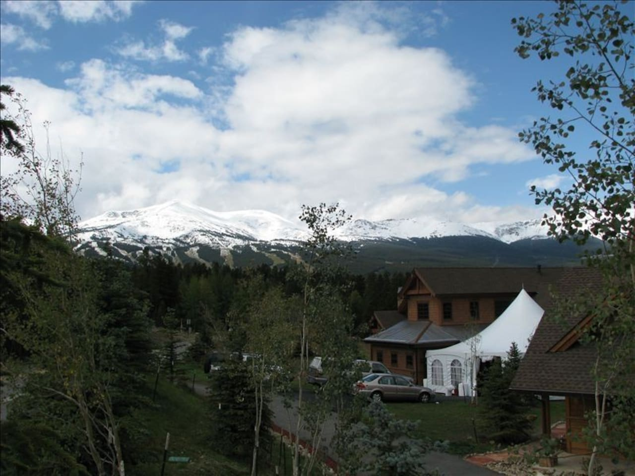 View of Breckenridge Ski Resort from the property.  The apartment is located only 6 blocks to Main Street Breckenridge.  Free shuttle can take you into town or up to the mountain.