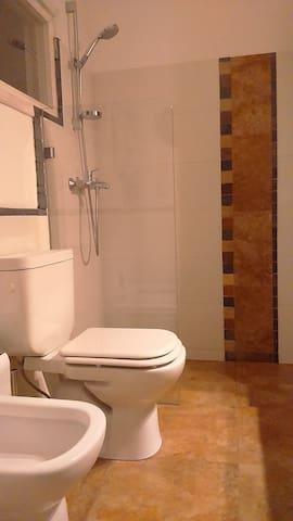 Baño principal, vista ducha y accesorios