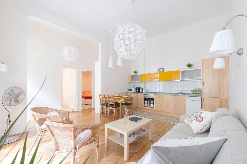Airy, sunlit living room