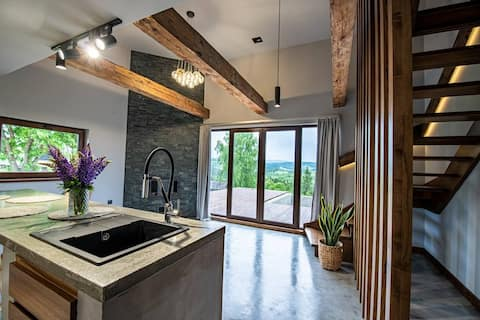 Newly built contemporary styled 2-bedroom cottage in Carpathians
