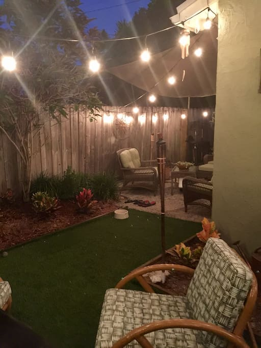 Awesome outdoor space!! Furnished patio, turf lawn, gas grill.
