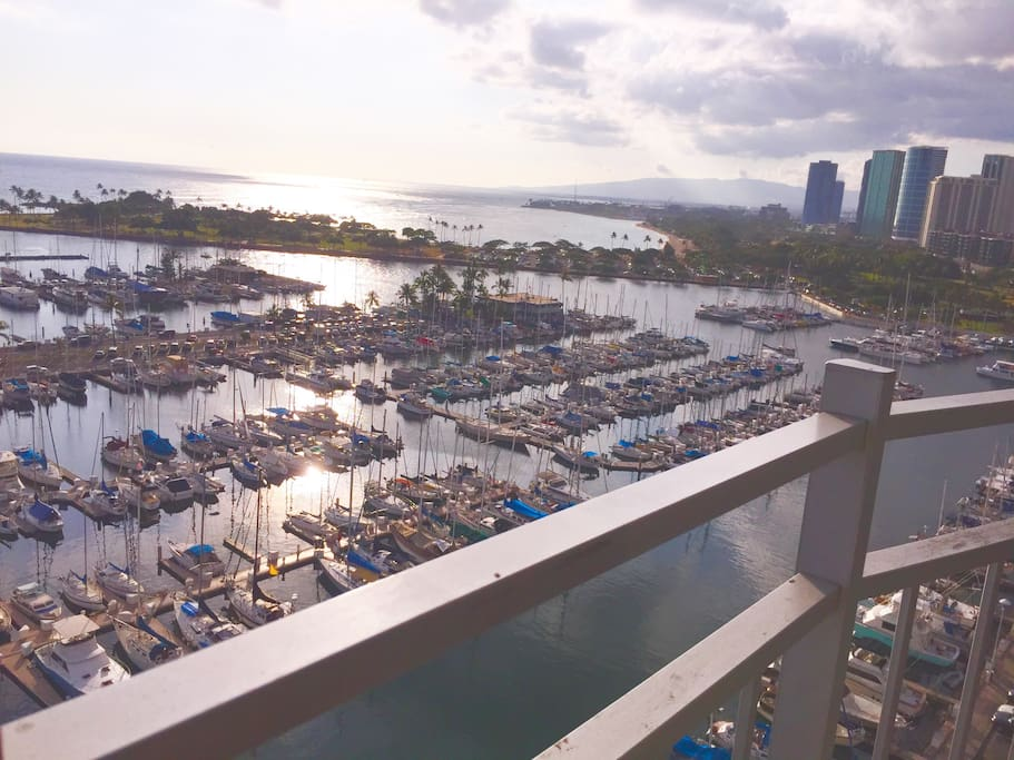 Watch the sailboats gently swaying in the pacific ocean from the balcony.