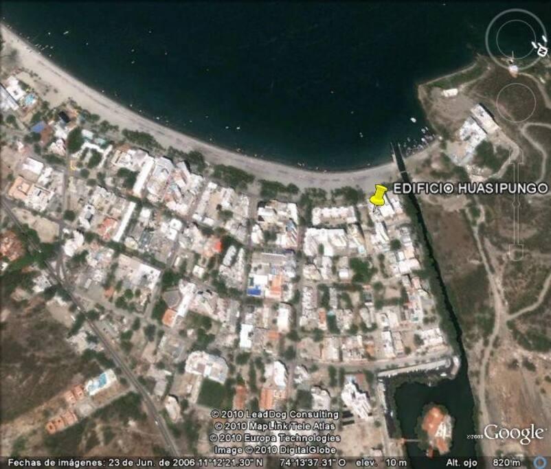 ubicación satelital en la playa del rodadero