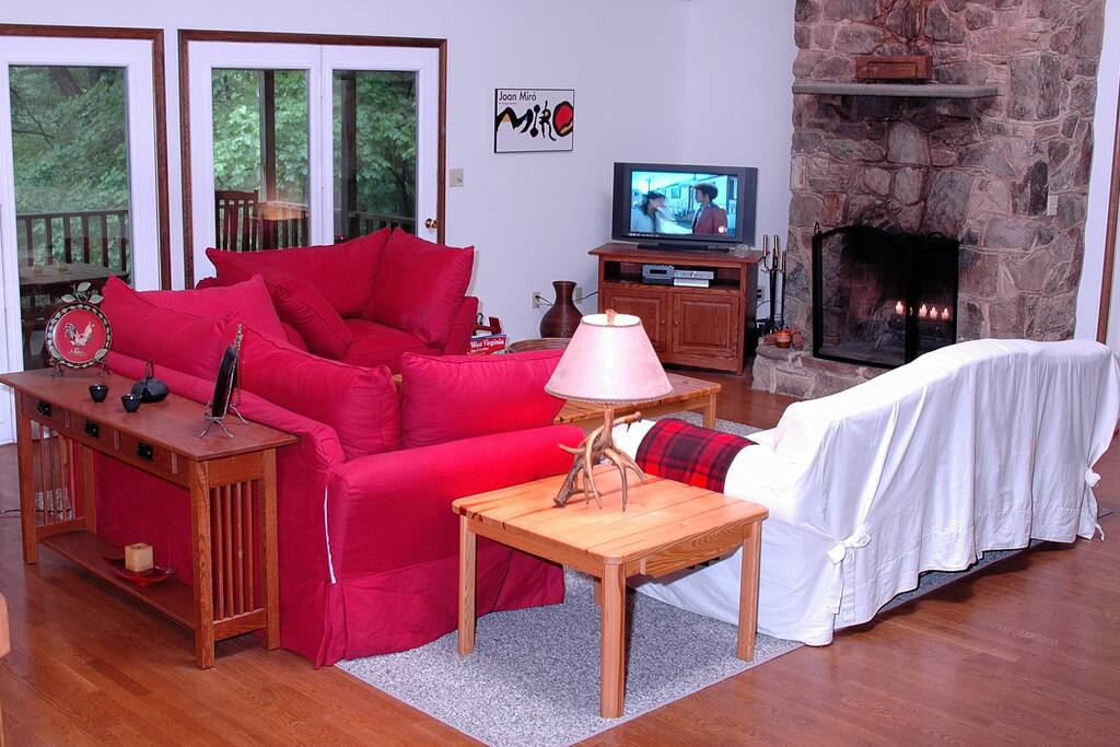 Great Room with beautiful stone fireplace