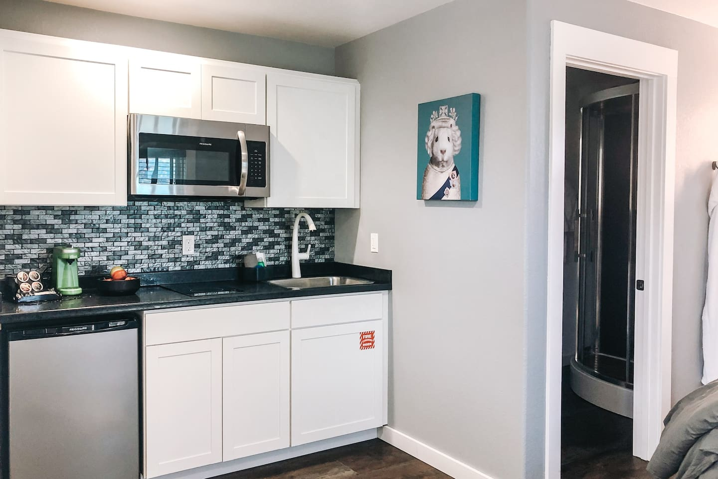 Bungalow 6 has a kitchenette stocked with everything needed to prepare a meal inside or out.