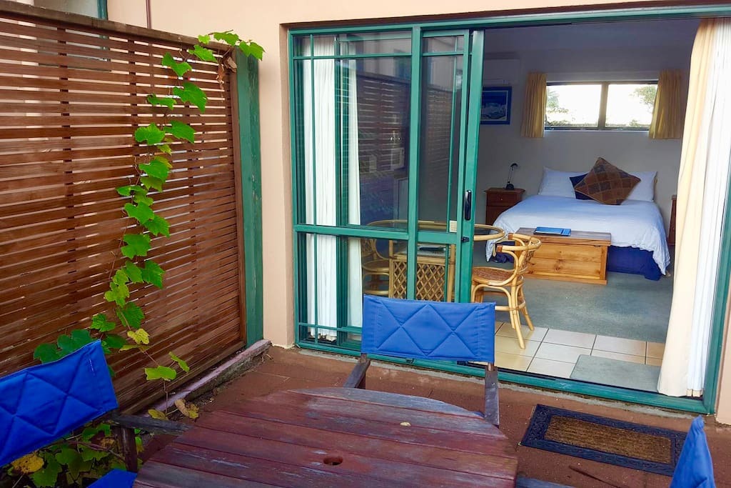 Private courtyard. Unit situated at the back of property with parking for 1 vehicle.