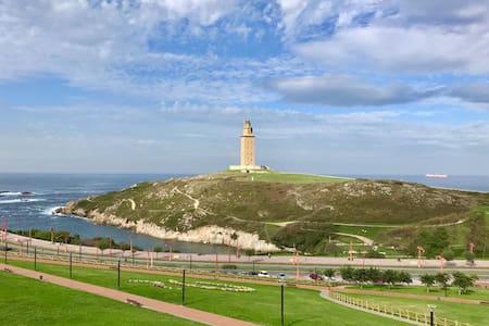 Hab. vistas al mar y Torre de Hércules + garaje