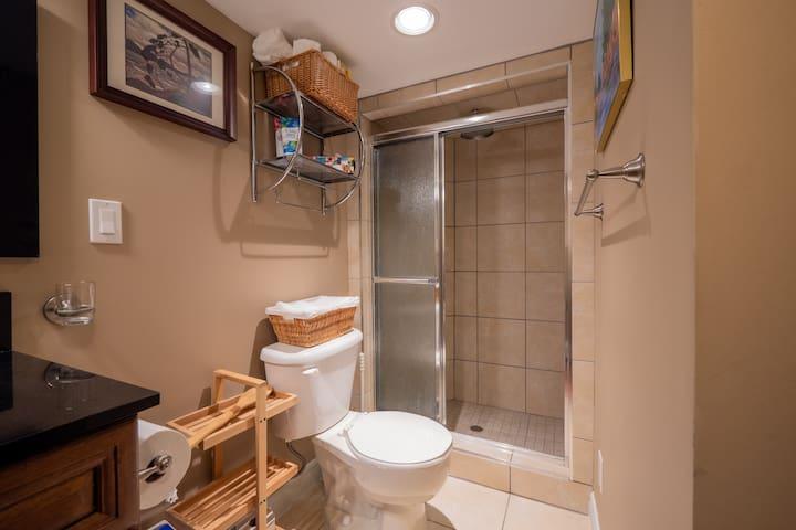 3-piece bathroom with rain shower