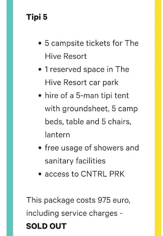 Tipi package for 5 at rockwerchter